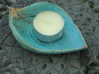 Potteryleaf plate in Turquoise, candle holder, tea bag holder, home decor, azure,  garden