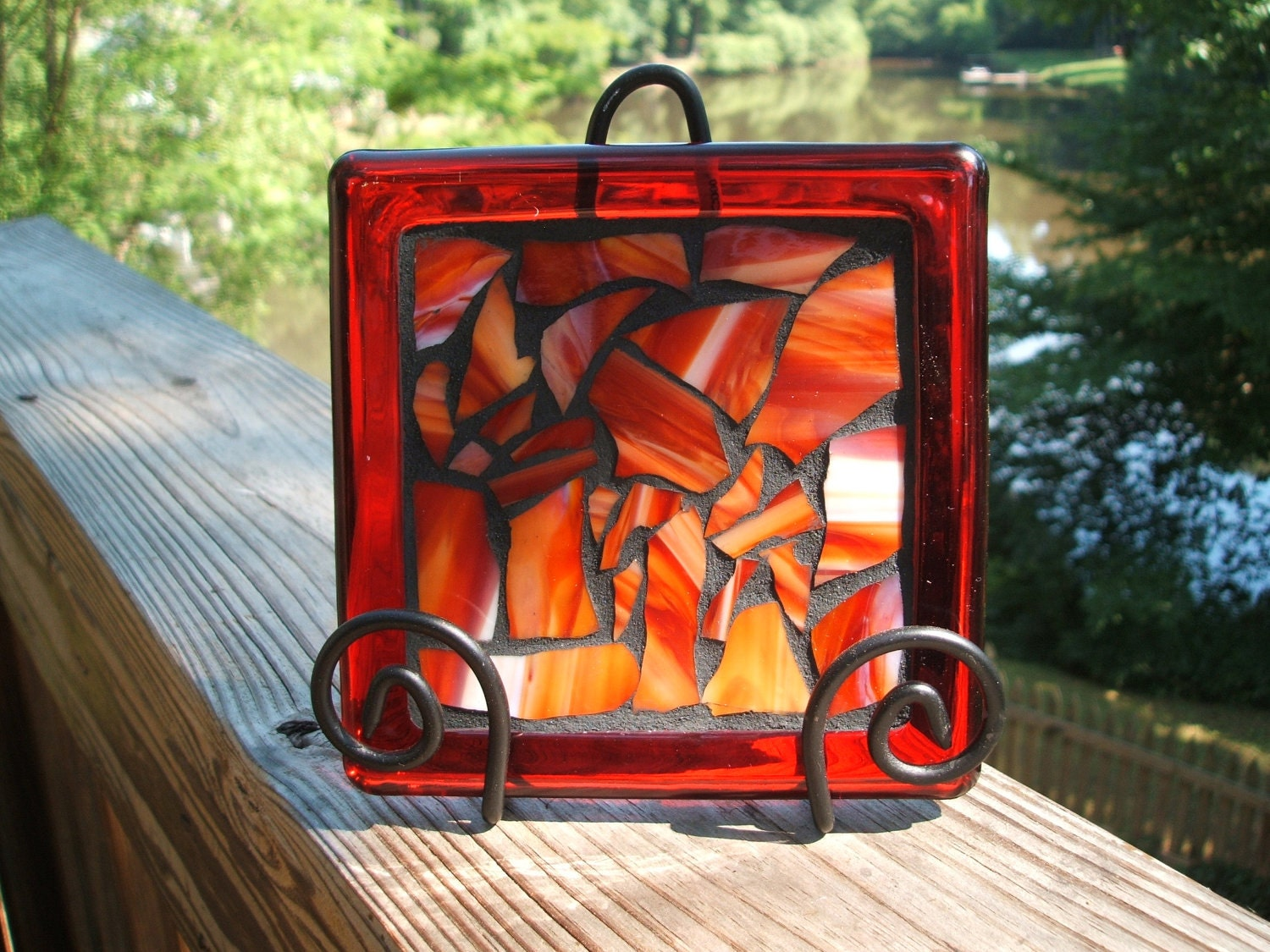 Mosaic Trivet/Candleholder/Decorative Accessory w Red, Orange & White Stained Glass (black stand incl)...SALE...was 18.00, now 15.00 - WiseCrackinMosaics