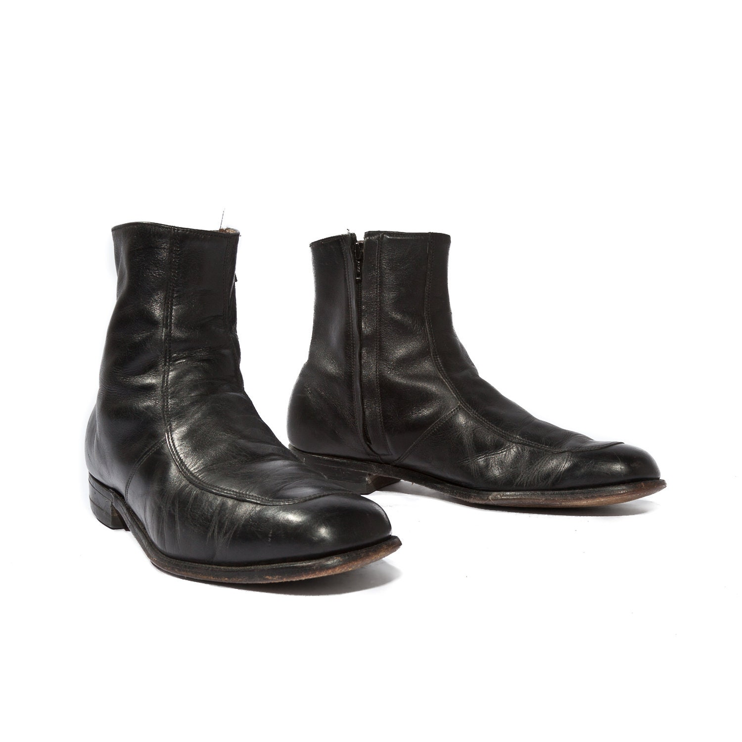 vintage s beatle boots black leather by rabbithousevintage