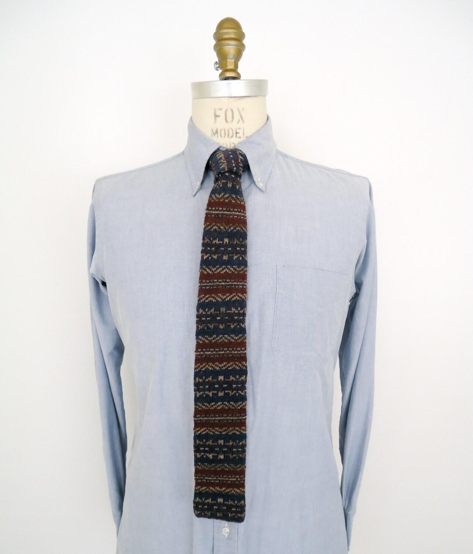 Mens Tie Knitting Pattern : Lands End Pattern Knit Tie / mens vintage western by ...
