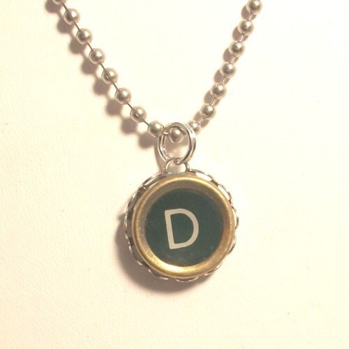 green letter d vintage typewriter key necklace by