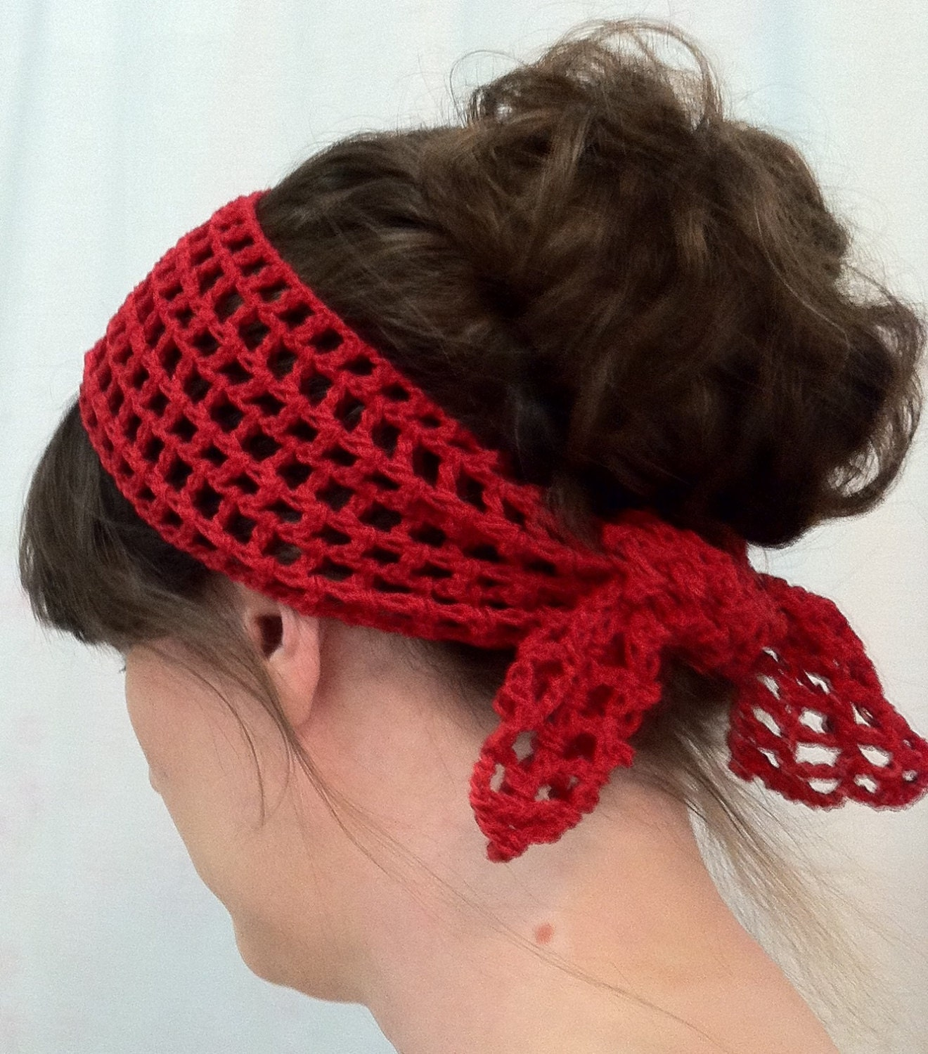 Womens Crochet Red Head Scarf Neck Scarf Red Neck Scarves For Women