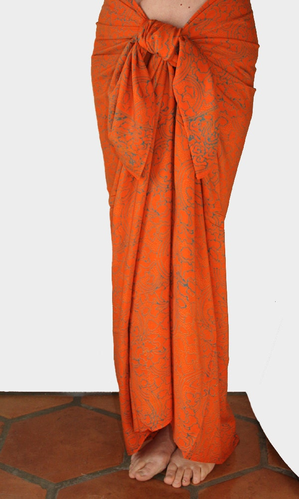 orange and blue sarong wrap mens or womens by puawear