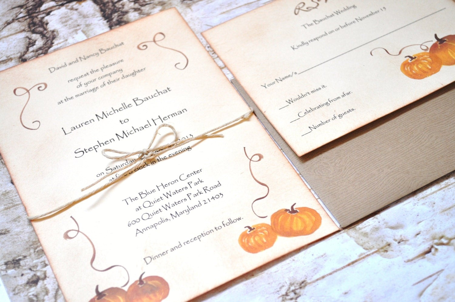 Pumpkin wedding invitations rustic wedding by alittlemorerosie for Fall wedding invitations with pumpkins