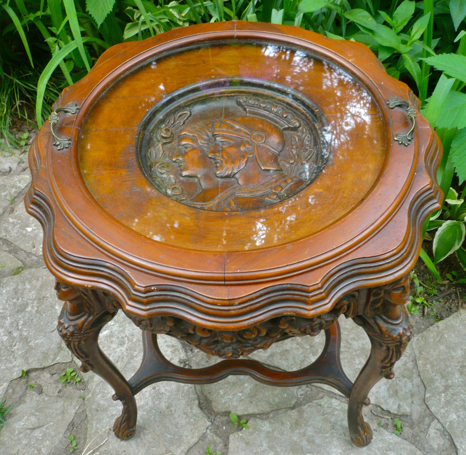 Butler Tray Table Antique Round Carved Table By Casakarmadecor