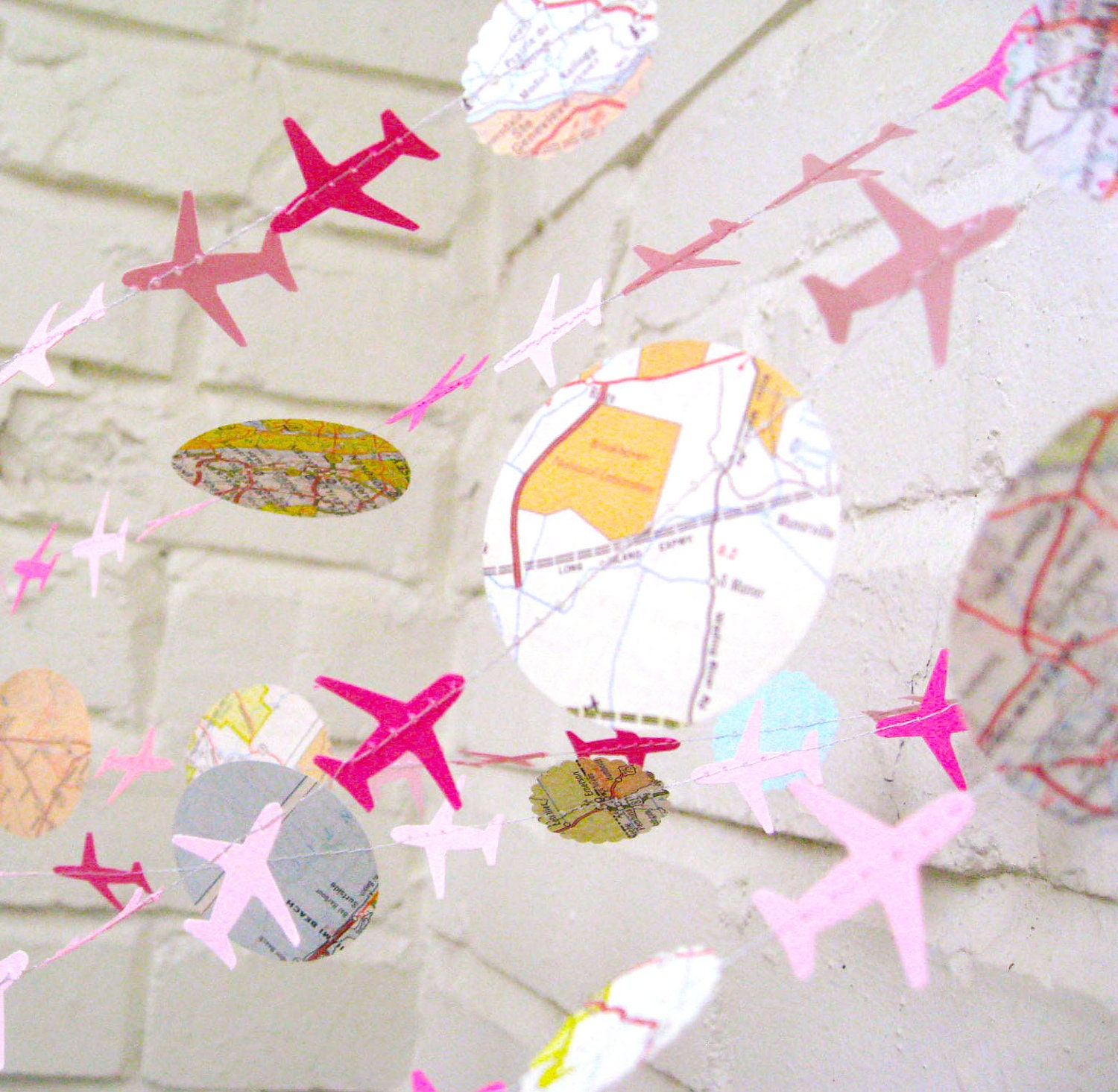 The Bon Voyage Air Plane Garland, Paper Garland, Pink, Maps, Ombre Pink, Multi colored, Maps