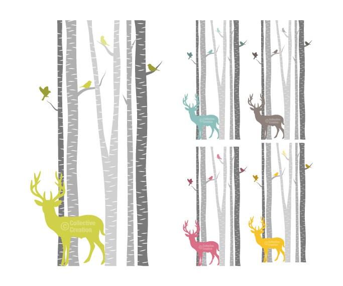 Deer birds amongst the birch trees clip by