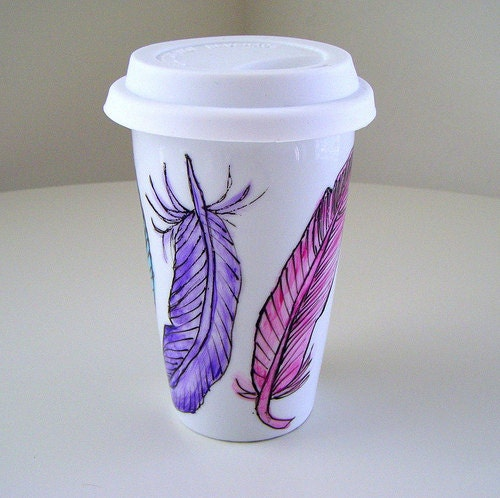 Ceramic Travel Mug Eco Coffee Cup Feathers Nature By Sewzinski
