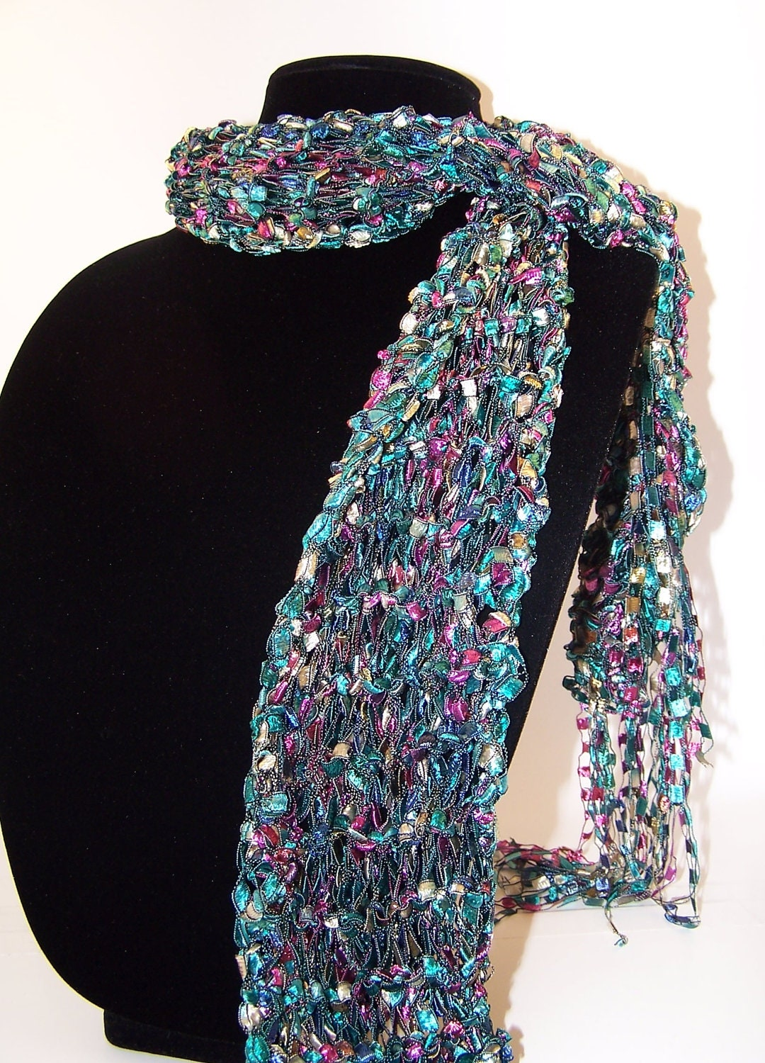 Ladder Yarn Skinny Scarf Knit in Emerald by WeeCatCreations