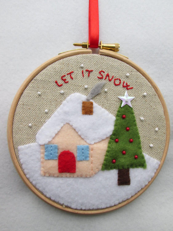Items Similar To Christmas Embroidery Hoop Art Winter Image Christmas Ornament Christmas Gift ...