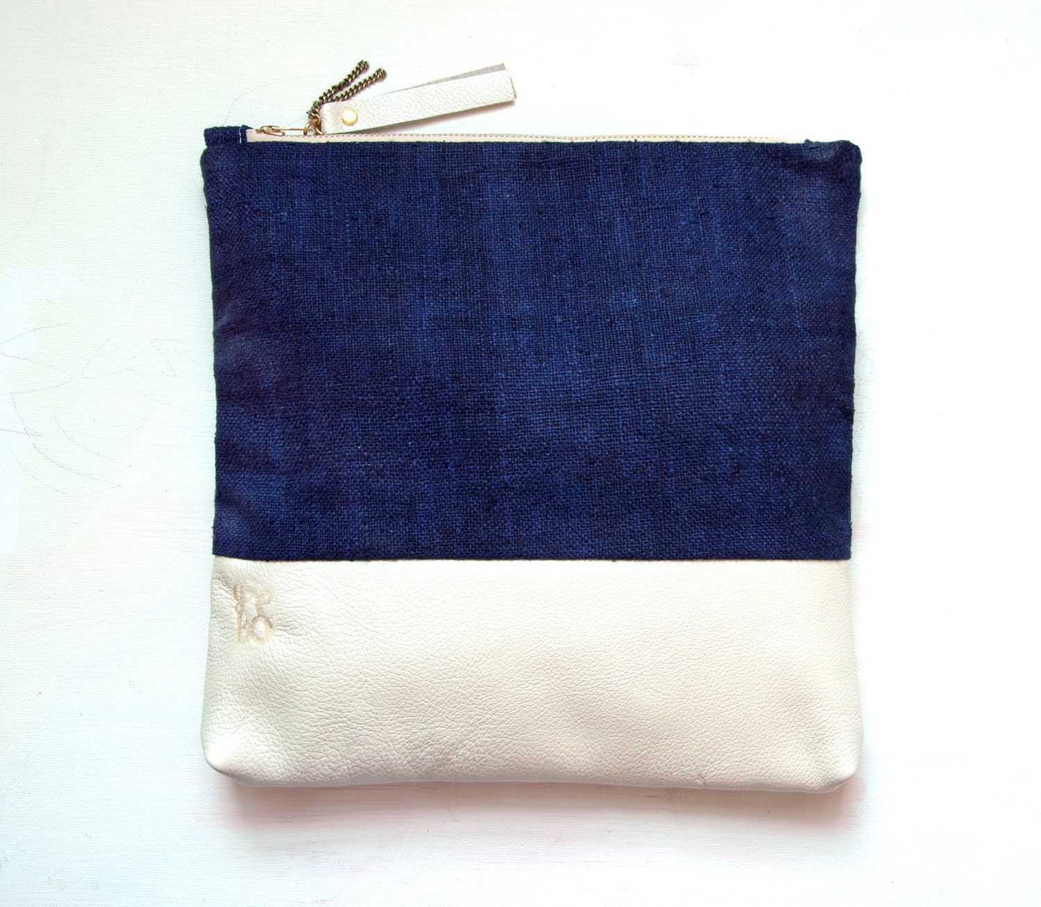 I N D I G O SILK Leather Clutch. Blue and Navy Clutch. Large Make up Bag. Nautical Bag