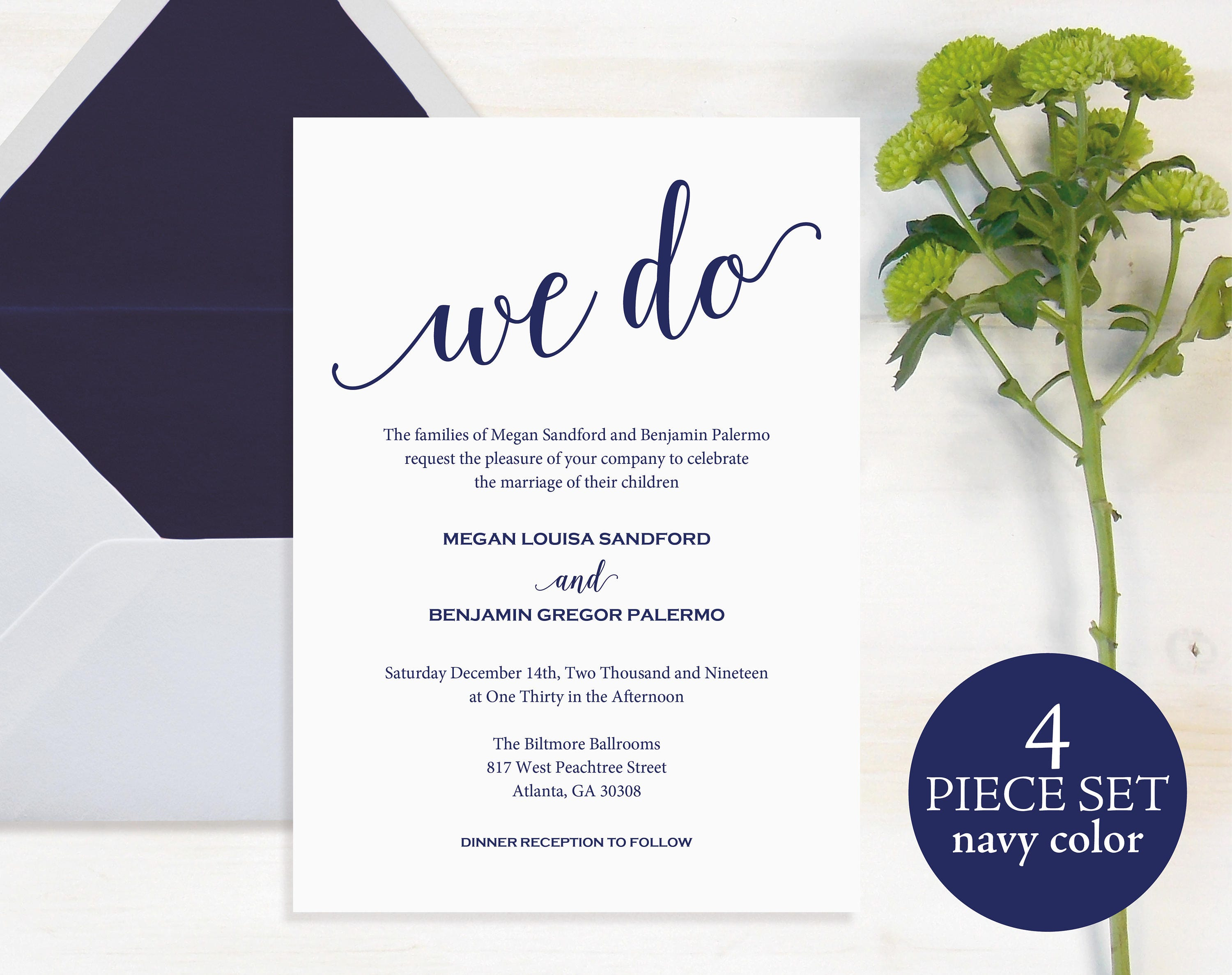 We Do Wedding Invitation Wedding Invitation Template Wedding Printable Navy Invite Template Cheap Invitation Instant Download MM014