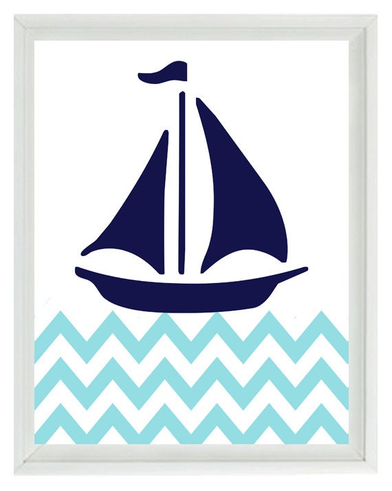 White Nautical Wall Decor : Nautical sailboat chevron wall art print navy by