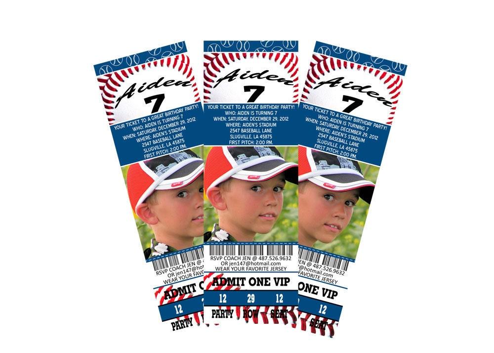 Blue baseball birthday ticket invitation - PhoterrificCards