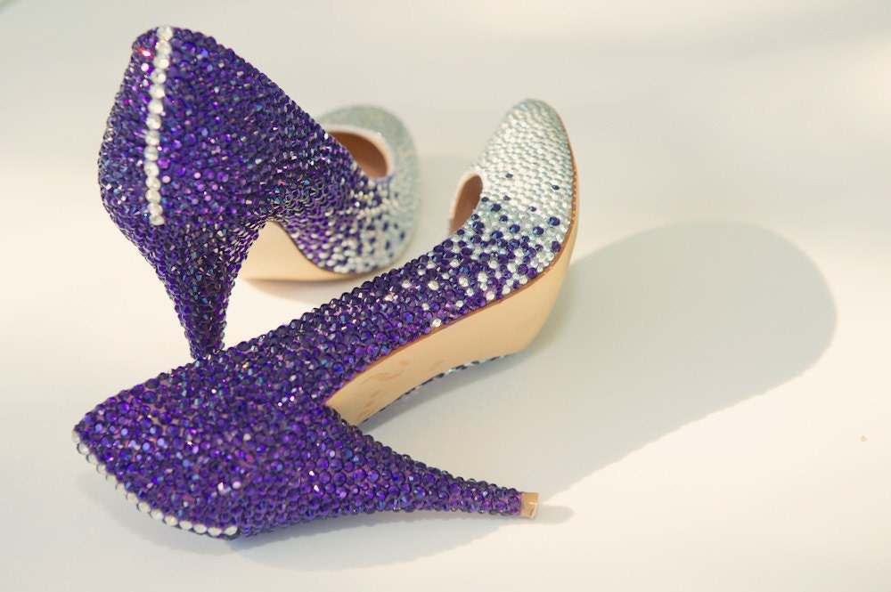 Custom Swarovski Crystal Embellished Wedding Shoes Purple and Silver ombre