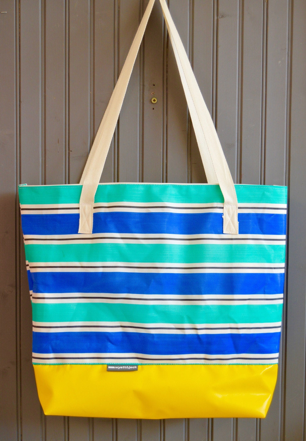 Wyatt and Jack Upcycled Blue Yellow  Turquoise Stripy Vintage Deckchair Canvas Beach Bag