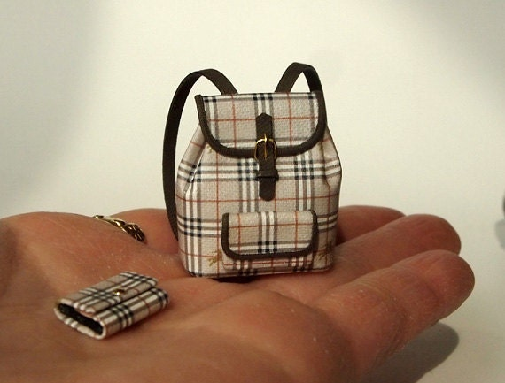 Burberry (No.3) Backpack PURSE with Wallet  for women Artisan handmade Dollhouse Miniatures