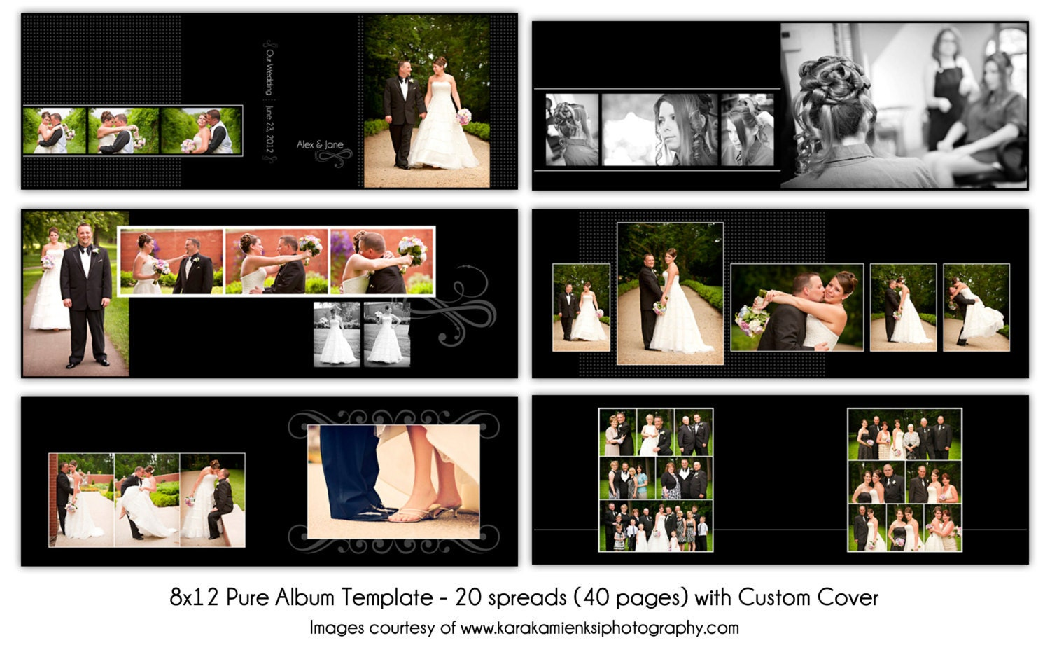 pure 8x12 digital wedding album template 20 by katieanndesigns. Black Bedroom Furniture Sets. Home Design Ideas