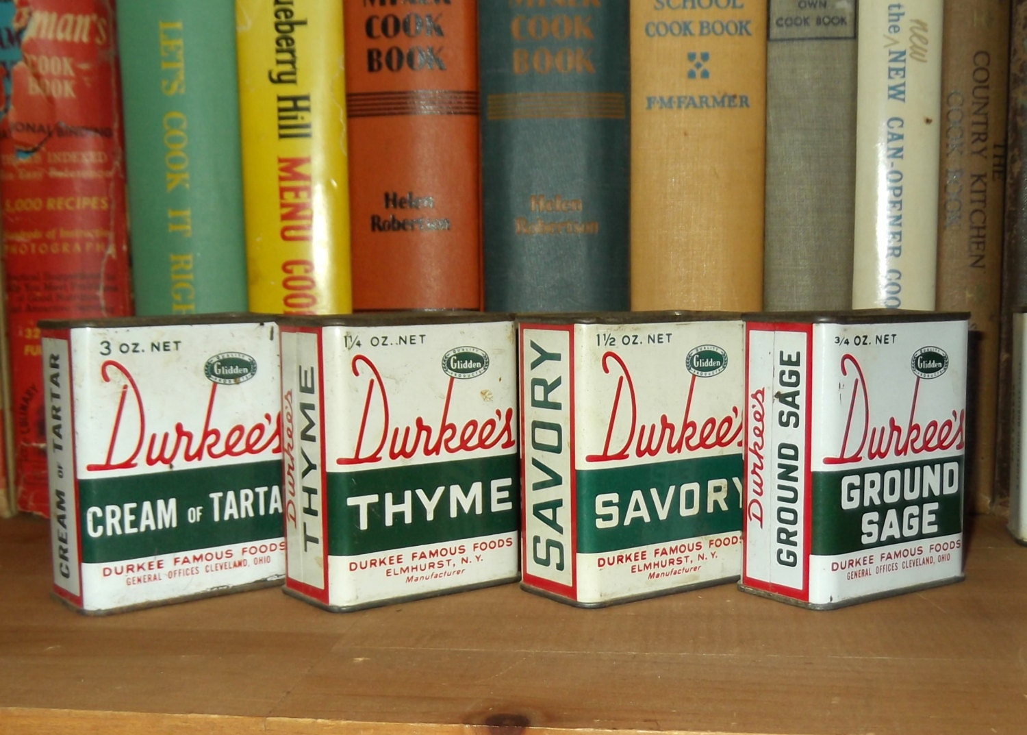 Four vintage Durkee's spice tins - two labeled Cleveland, Ohio - OnceinOhio