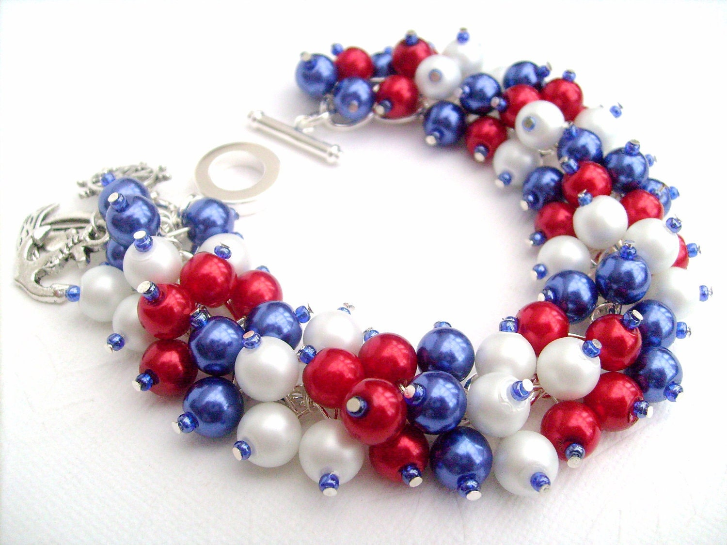 red white and blue bracelet nautical theme jewelry by