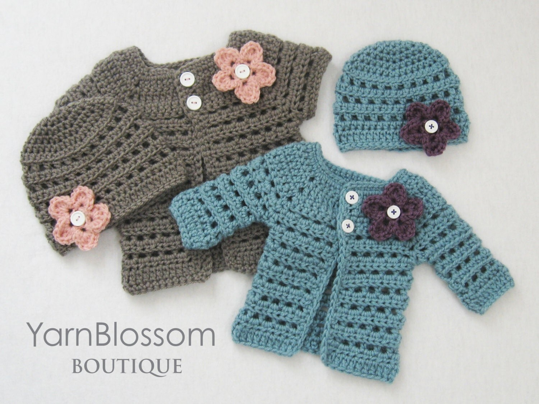 Crochet Pattern Baby Girl Cardigan : Cardigan & gorro de ganchillo patron bebe por ...