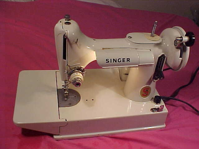 Singer 221 K White Featherweight Sewing By Vintageaudioplus