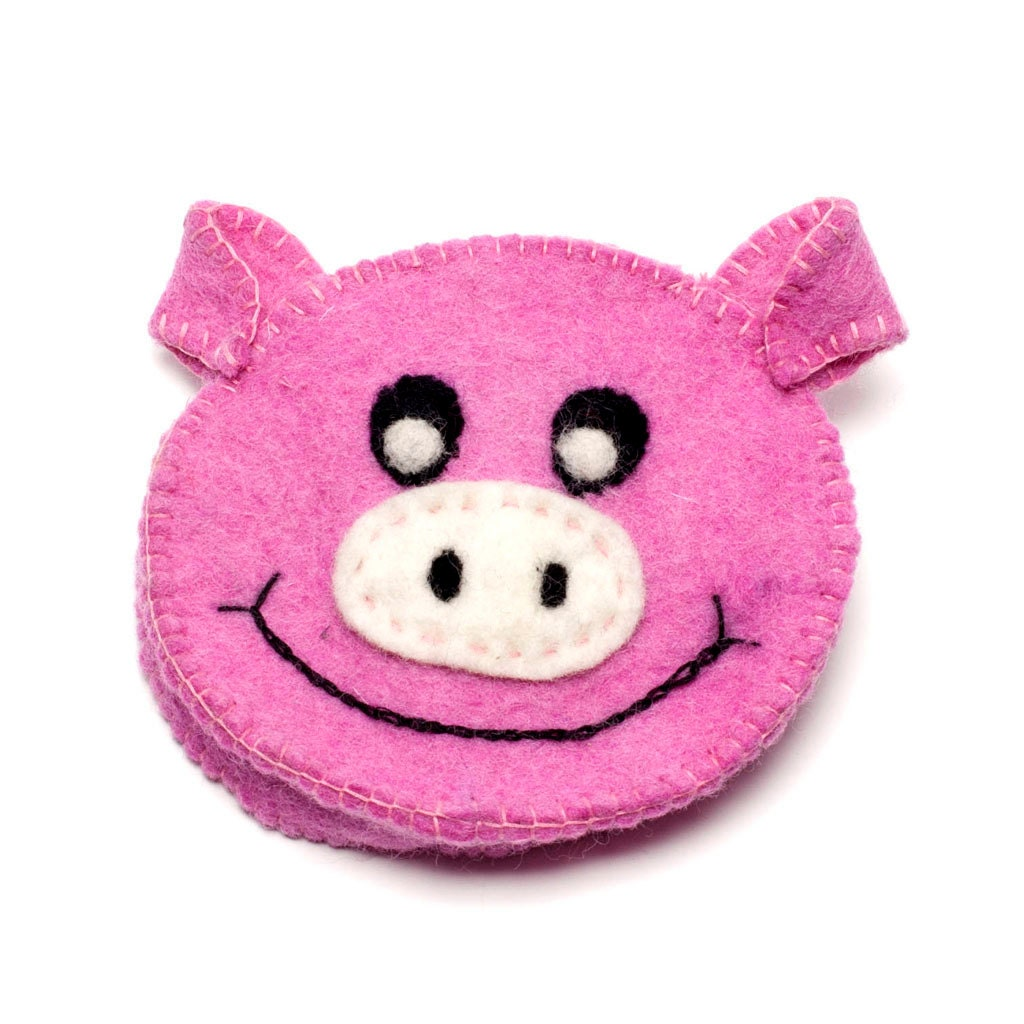 Needle Felted Pig Purse  Farmyard Wallet  Handmade Wool  Felt Animal Accessory