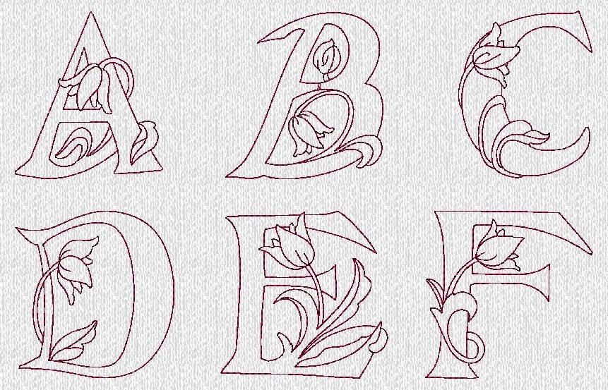 Instant download floral alphabet font redwork by