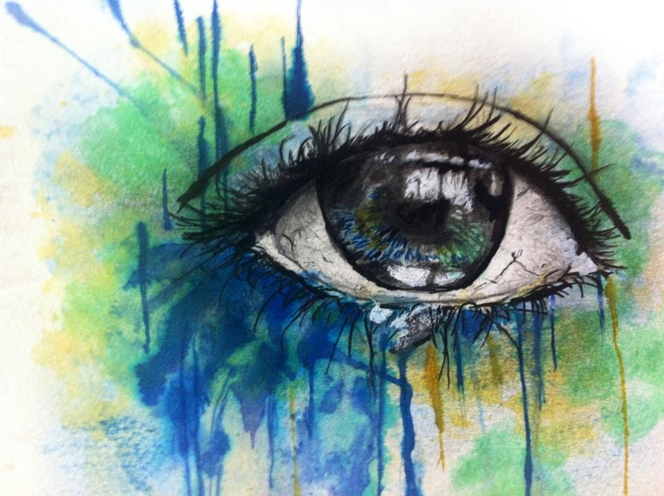 A5 Brazil's Eye - Ink And Water Colour Painting (Blue Yellow Green) Prints and Original Available - CWInkWorks