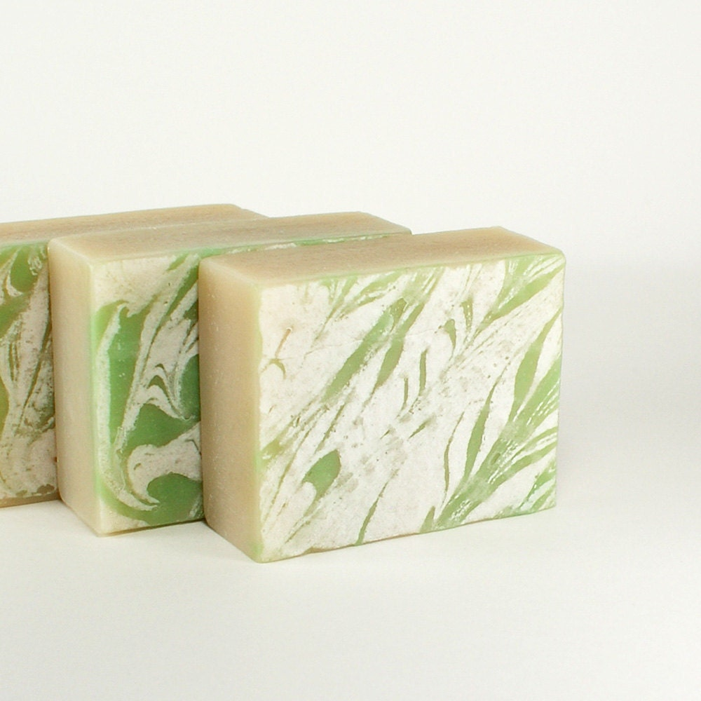 Sea Island Cotton Vegan Soap Green White Color Phthalate Free - Sea Island Cotton Soap - AmeliaBathandBody