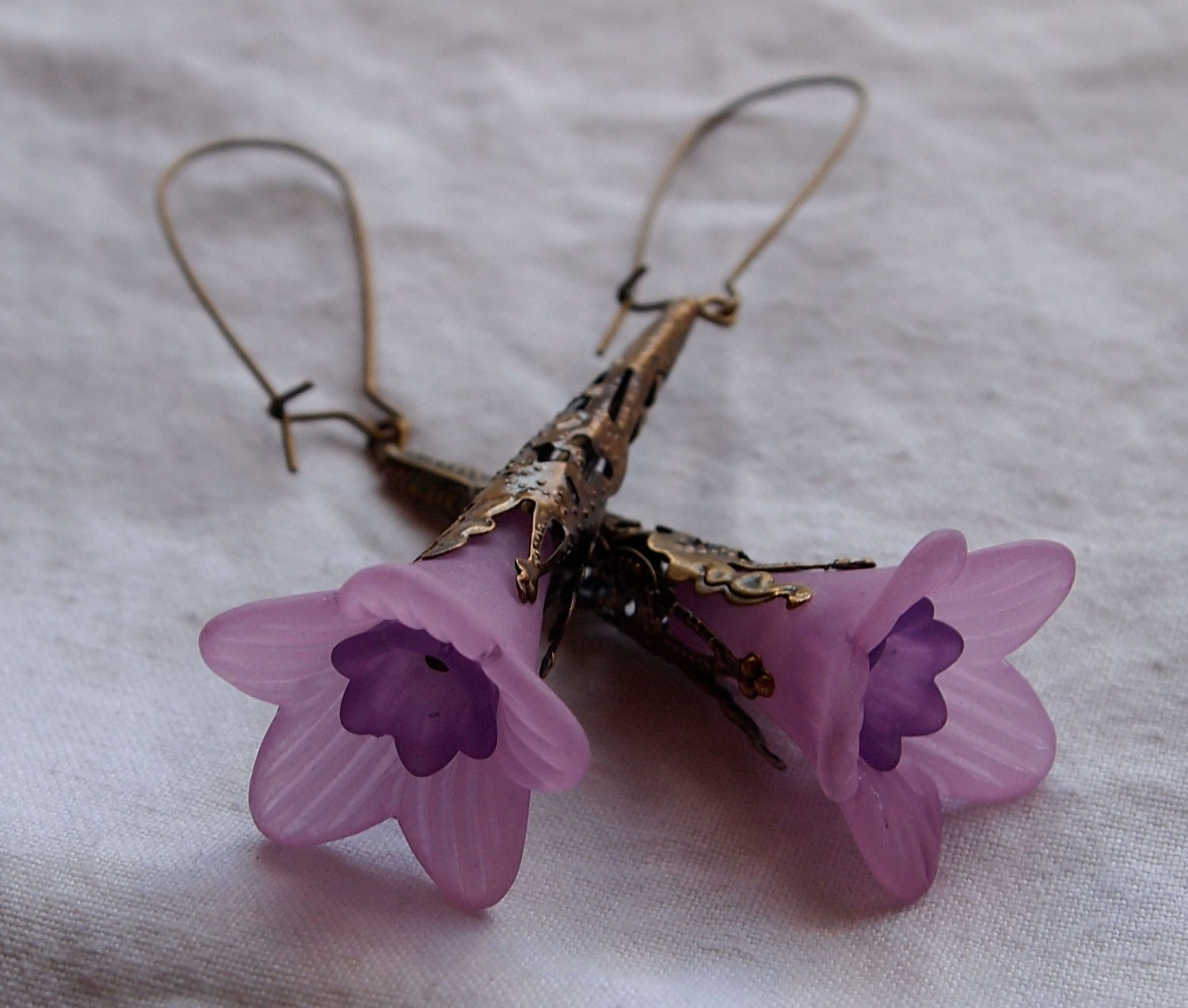 Purple Lucite Trumpet Flower Earrings