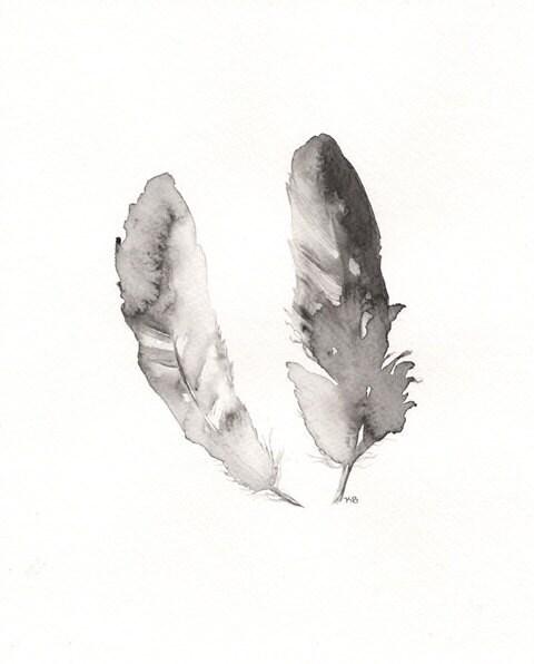Contour Feathers/ Black, White, Grey/8x10 Watercolor Print