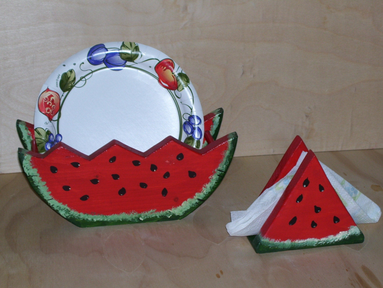 items similar to paper plate and napkin holder set watermelon theme on etsy. Black Bedroom Furniture Sets. Home Design Ideas