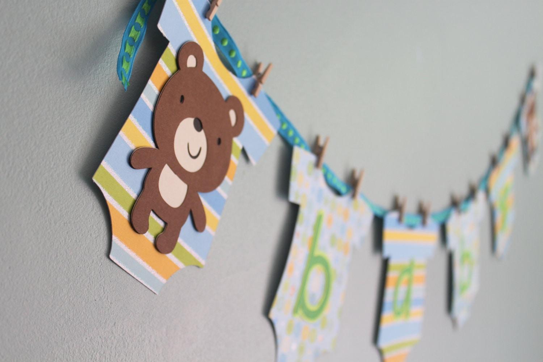 Teddy Bear Baby Shower Banner, Boy - calladoo