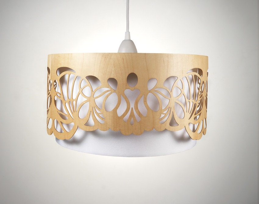 Lampshade made of wood with cut-outs / Handmade - minjonshop
