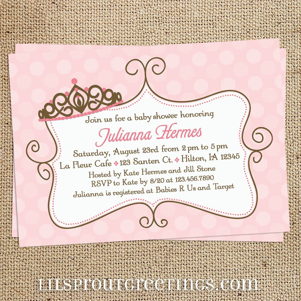 pink princess girl baby shower invitation by lilsproutgreetings