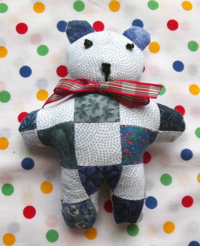 A Cute and Cuddly Little Patchwork Teddy Soft Toy Stuffed Animals Baby Gift Softie Soft Toys Nursery Decor