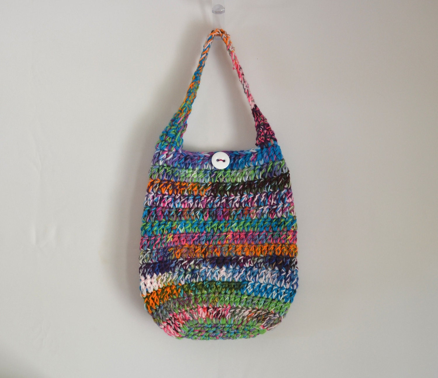 Crochet Hippie Bag : Crazy Crochet Shoulder Bag, Hippie Purse, Boho Bag, Multicolored ...