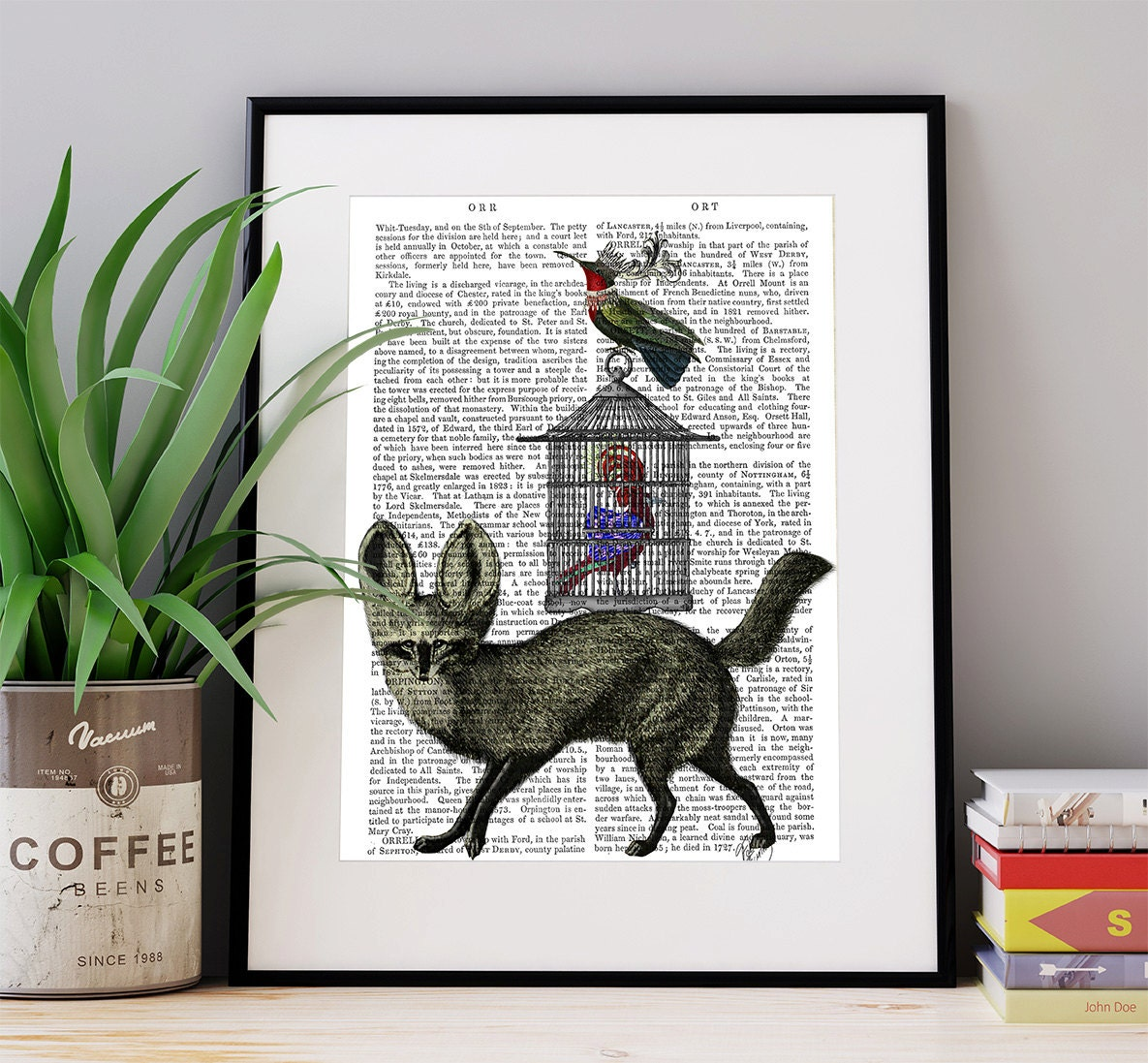 Fox and Birdcage  fox print birdcage decor surreal animal art woodland animal gift for fox lover fox decor whimsical wildlife art print