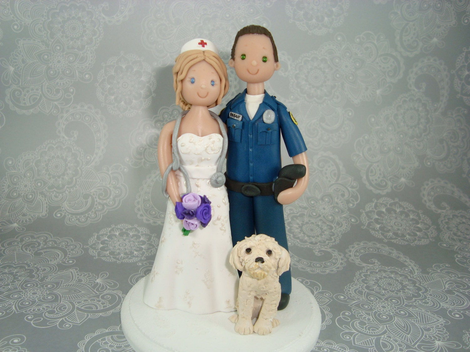 Police Officer & Nurse Custom Made Wedding Cake Topper by ...