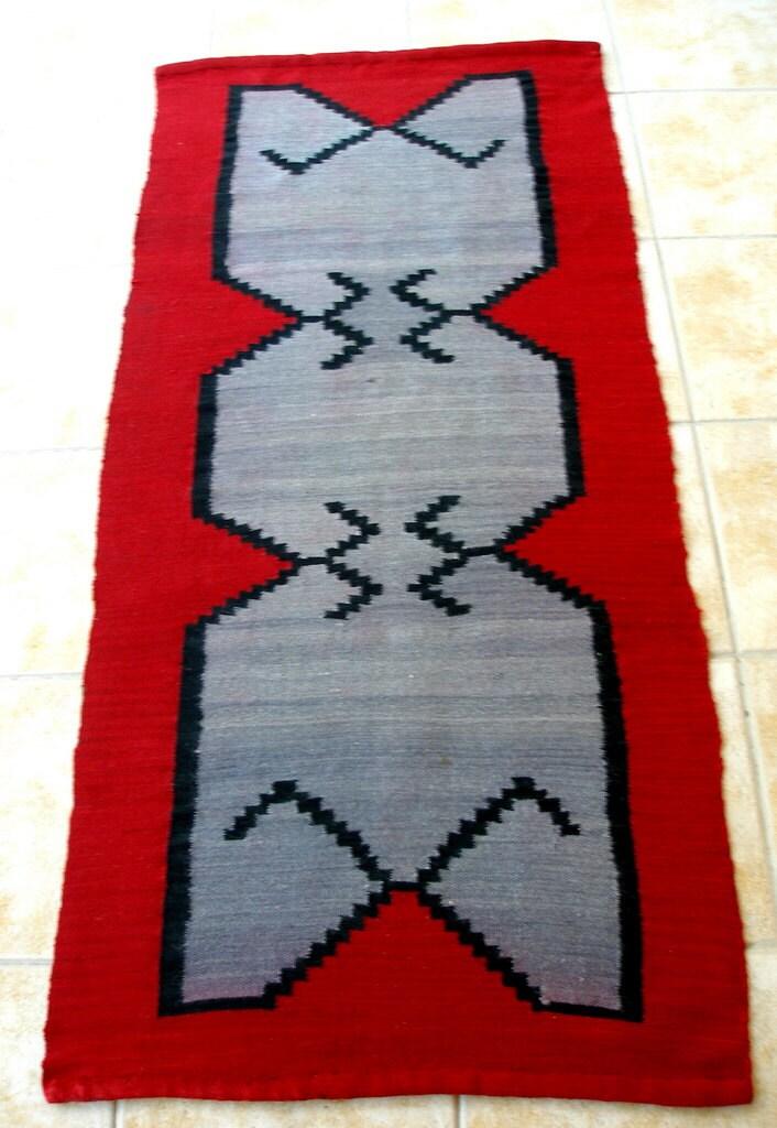 Antique Kilim Rug Runner Red Grey Black By Vintagehomestories
