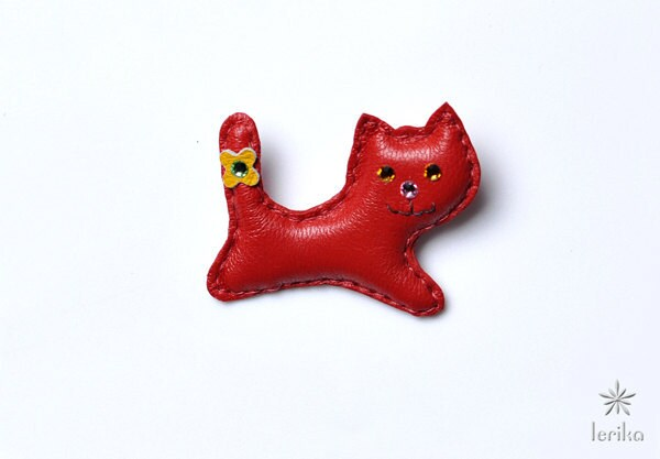 Leather Red Cat brooch with Swarovski crystals. - Lerika