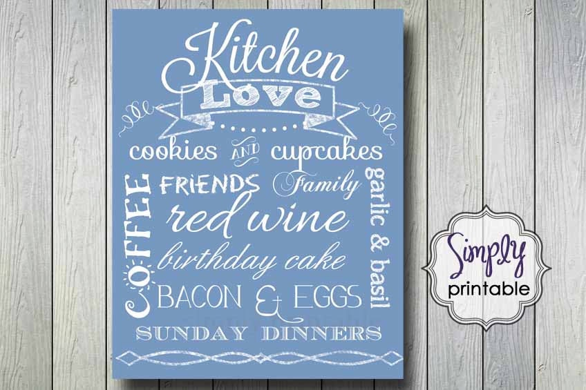 Light Blue Kitchen Wall Print 11x14 DIGITAL - simplyprintable