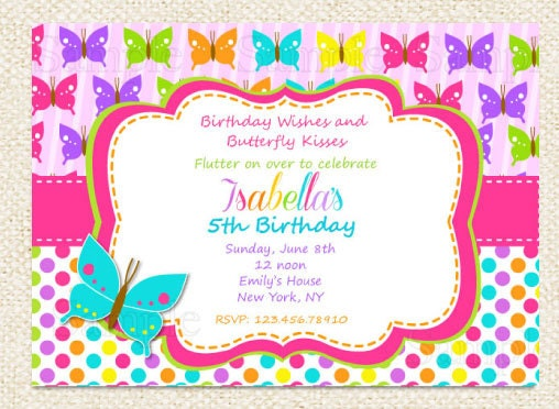 Butterfly Birthday Invitations by LollipopPrints on Etsy