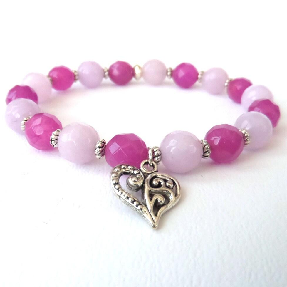 Handmade bracelet handmade original jewellery stretchy bracelet heart charm  lavender gemstone bracelet gift for her gemstone jewellery