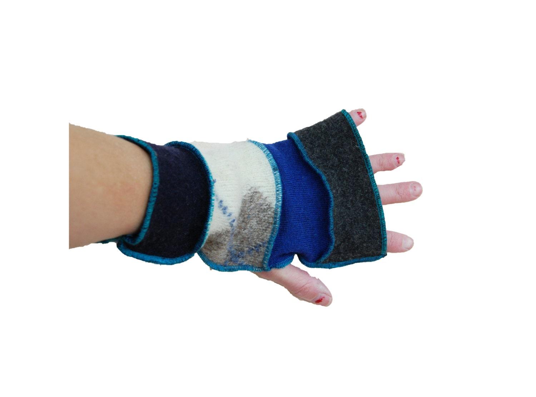 Mens Upcycled Fingerless Wool Gloves Extra Long Finger Boho EcoFriendly - LadyMadelineClothing