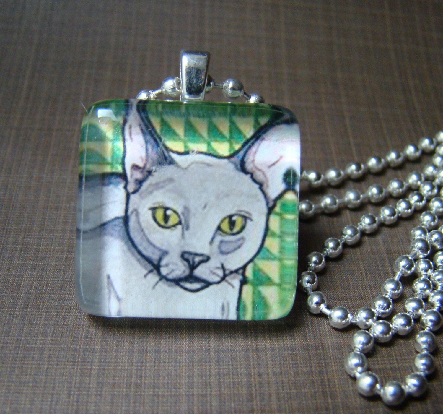 Glass Art Pendant - grey and green cat