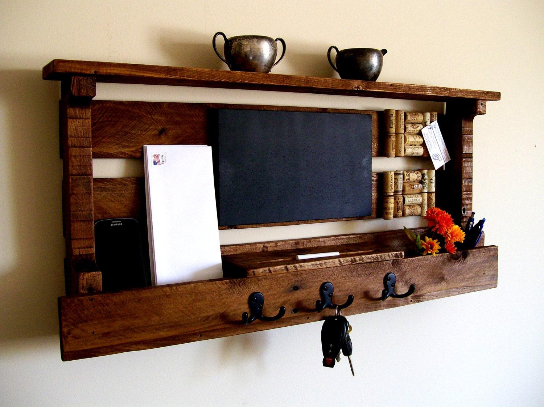 Mail organizer wine cork board chalk board by for Wall mail organizer with cork board