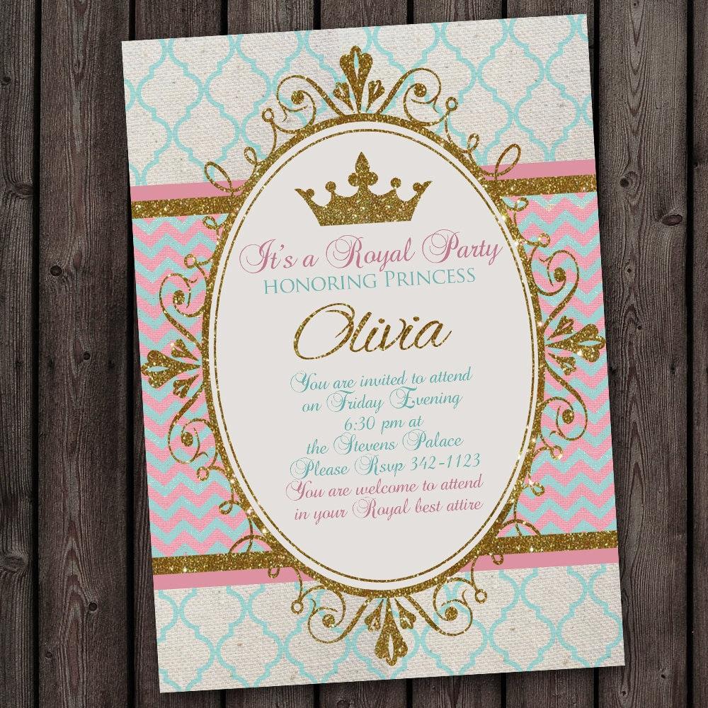 Princess Invitation, Royal Party, Gold, Elegant, with FREE wording customization
