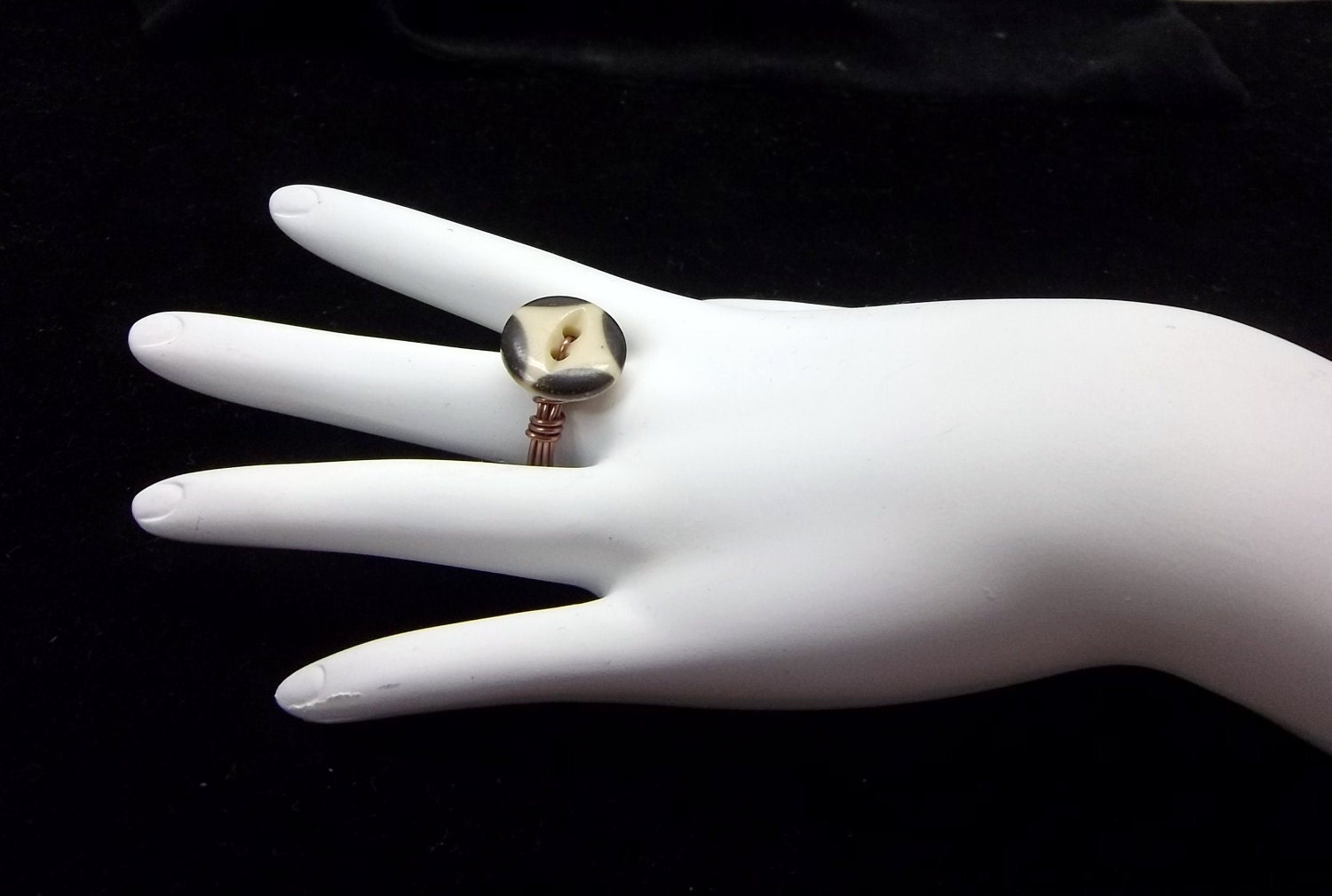 items similar to black cat eye ring wire wrapped ring vintage button handmade womens ring